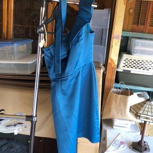 Blue one shoulder dress with belt